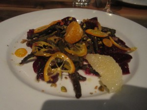 Oenotri, Napa: Beets with Citrus, Wood Oven Roasted Young Fava Beans, Sunflower Sprouts, and Pistachios