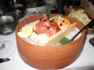 Chirashi Sushi, Blue Fin Tuna, Hamachi, Salmon Pearls, Santa Barbara Sea Urchin