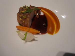 Red Wine-Braised Casco Bay MonkfishHen-of-the-Woods Mushroom, Nantes Carrots, Tokyo Turnip, Pistachios, and Mizuna