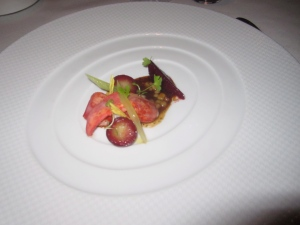 """Sweet Butter-Poached Maine Lobster """"Mitts""""David Little Potato, French Laundry Garden Beet, Celery Branch, and Bone Marrow Vinaigrette"""