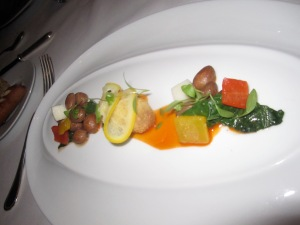 "Hawaiian Hearts of PalmCranberry Beans, Kale, Peppers, Meyer Lemon, Thyme Oil, and ""Sauce Pimentón"""