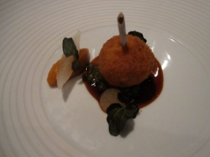 "Four Story Hill Farm Chicken ""Kiev""Garnet Yam, Collard Greens, Sand Pear, Watercress, and Black Strap Molasses"