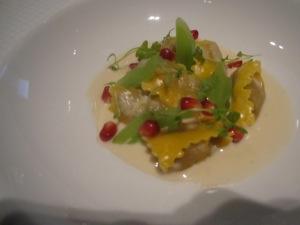 "Mascarpone-Enriched Chestnut ""Agnolotti""Celeriac, Cutting Celery, and ""Crème de Fontina d' Aosta"