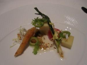 """Comté Reserve""Crispy Salsify, Petite Onions, Castelvetrano Olive, Frisée, and Dijon Mustard"