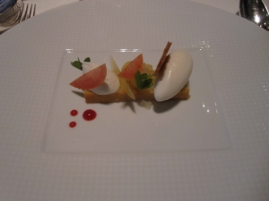 """Bakewell TartRome Beauty Apple Compote, """"Pain de Gêne,"""" and Toasted Oat """"Glace"""""""