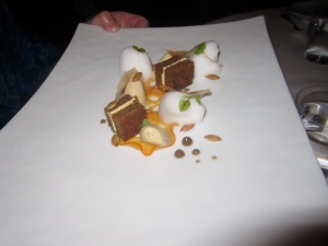 "Jamaican GingerbreadMuscovado Custard, Confit Persimmon, Citrus Buttercream, and ""Pepitas"""