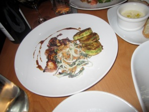 Charred Octopus, Scallion Pancakes, Green Papaya, Long Beans, and Cashews