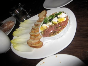 Baked Smoked Sturgeon Dip, Hard Egg, Pickled Onions, Herbs, Crostini, Endive, Caviar