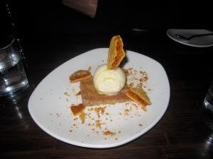 Warm Hazelnut Brown Butter Torte with Honey-Chamomile Ice Cream
