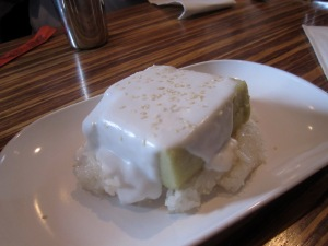 Durian-Palm Sugar-Coconut Custard on Sticky Rice at Pok Pok
