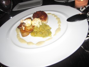 Maine Diver Scallops a la Plancha, Roasted Spaghetti Squash, Cauliflower, Fingerling Potatoes, Sage Beurre Blanc