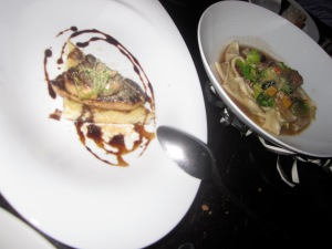 Left: Seared Hudson Valley Foie Gras, Griled Brioche, and 30- Year Aged BalsamicRight: Braised Duck and Pappardelle Pasta, Butternut Squash, Brussels Sprout Leaves, Shaved Foie Gras Torchon