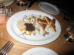 Foie Gras Torchon-- Toasted Brioche, Salted Hazelnuts, Fig Preserves, Orange Cardamom Gastrique