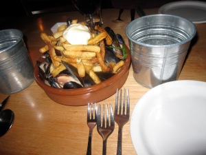 Mussels & Fries in Green Chorizo- Butternut Squash- White Wine Broth