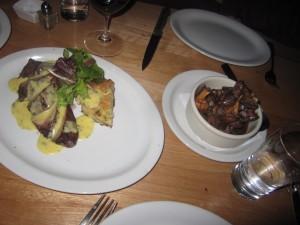 Right: Niman Ranch Teres Major-- Shoulder Tender; Bearnaise Sauce, Root Vegetable StrataLeft: Sautéed Wild & Crimini Mushrooms with Marchand de vin