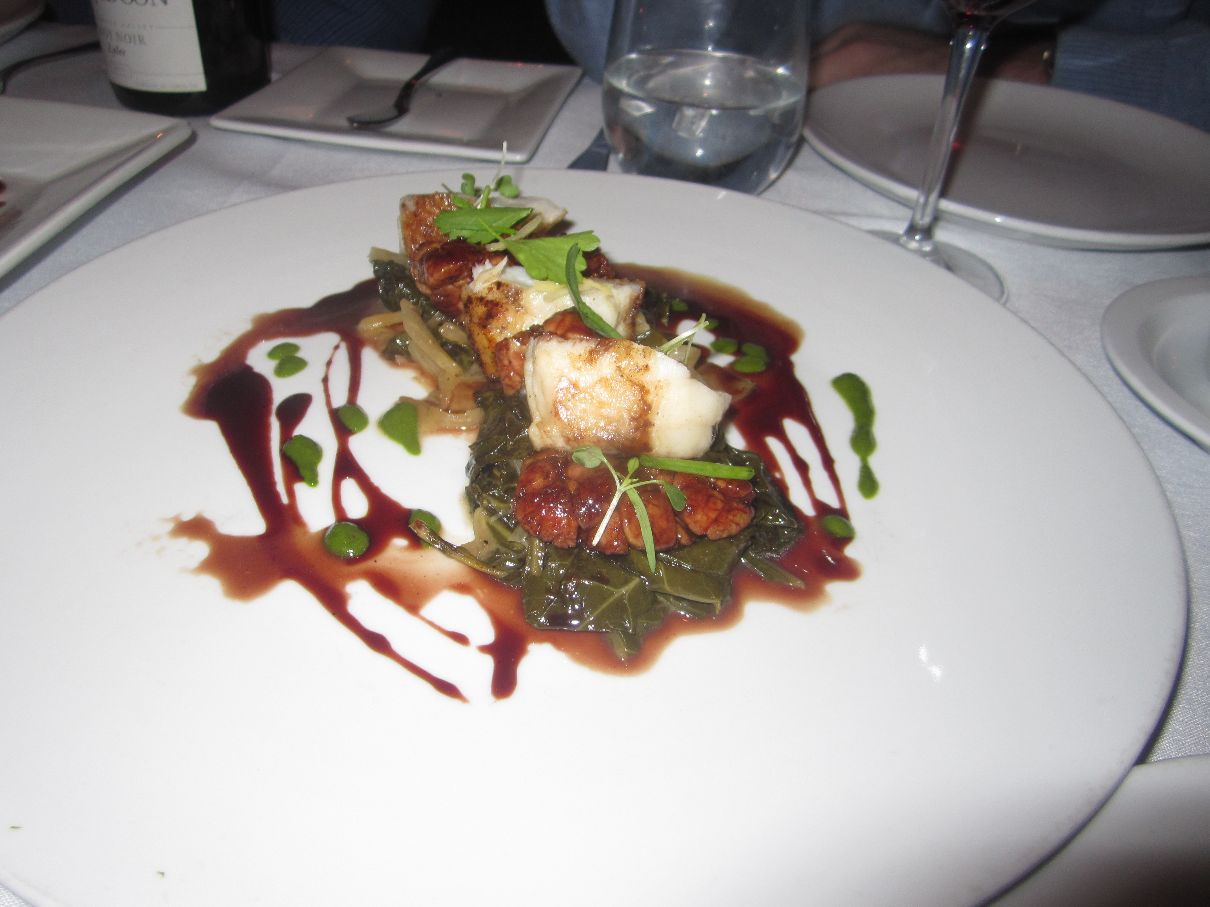 Sautéed Sweetbreads and Monkfish with Melted Greens, Verjus- Red Wine ...