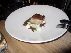 Grilled Lamb Breast, Pine Nut Panna Cotta, Cauliflower, Dates, Green Chard Jus