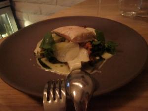 Sturgeon, Jerusalem Artichoke, Cabbage Steamed in Oyster Shells, Kohlrabi, Whey Sauce