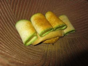 Tamal. Cheese. Epazote Xikil Pak Sauce. Green Squash. Squash Powder