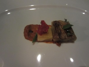 """Suckling Lamb"" and Eggplant. Isthmus Stew. Pineapple. Flowers in Escabeche. Charred Herbs."
