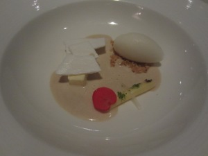 Thyme Biscuit. Lemon Gelatin. Cookie Soup. Pulque Sorbet. White Chocolate.