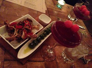 Crudo's Beet Yuzu Gimlet, even better with some smoked olives and spicy fried pig ears
