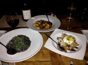 L to R: Squid Ink Risotto with Tuna & Chilies; Gnocchi a la Testa with Pork, Rapini, & Tomato; Mushroom Gratin with Mozzarella, Egg, & Truffle Oil