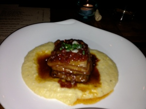 Crudo's Pork Belly with Tomato Agrodolce and Creamy Polenta