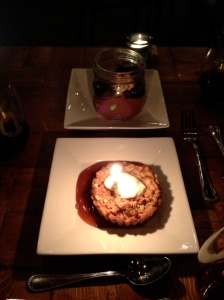 Back: Chocolate Tiramisu with Cherry Compote Front: Apple and Frangipane Tart with Fleur de Sel Caramel and Crème Fraiche