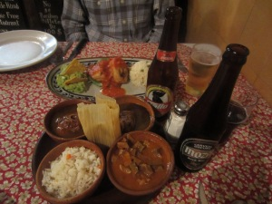 All sorts of stews, complete with Gallo Beer at La Fonda de la Calle Real, Antigua
