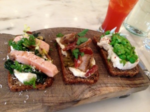 Bar Tartine, San Francisco: Smørrebrød: Rainbow Trout with Horseradish Cream and Arugula, Salami with Mushrooms and Pepper Relish, Farmer's Cheese with Peas and Chili Flakes