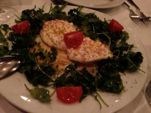 Burrata, Tomato, Arugula, Olive Oil, Bottarga, and Flatbread