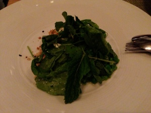 AQ, San Francisco: Cool Spring Peas, Macadamia Nuts, Goat Cheese, Sweet Woodruff