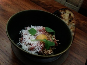 Beef tartare, pickled jalapeno, parmigiano