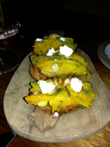 Pumpkin toast, miso jam, goat cheese