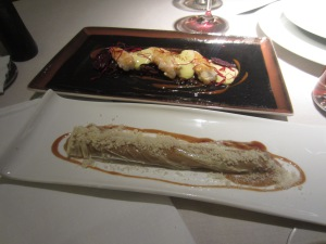 Crayfish is above and the meat cannelloni is below