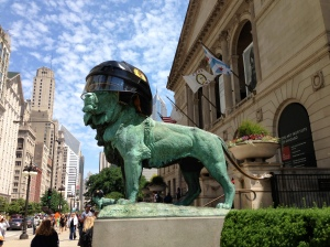 The Art Institute lions celebrate