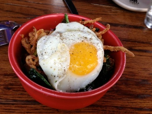 Pig ear and fried egg...with kale