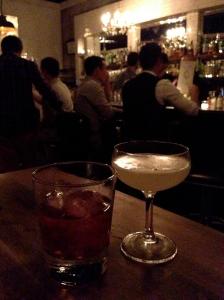 Boulevardier and Mezcal Corpse Reviver at Maude's Liquor Bar