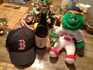 "Wally the Green Monster celebrates the World Series championship with Liquid Farm's 2011 ""White Hill"" Chardonnay"
